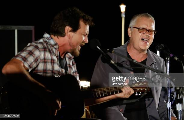 Eddie Vedder and Tim Robbins peform onstage during Eddie Vedder and Zach Galifianakis Rock Malibu Fundraiser for EBMRF and Heal EB on September 15...