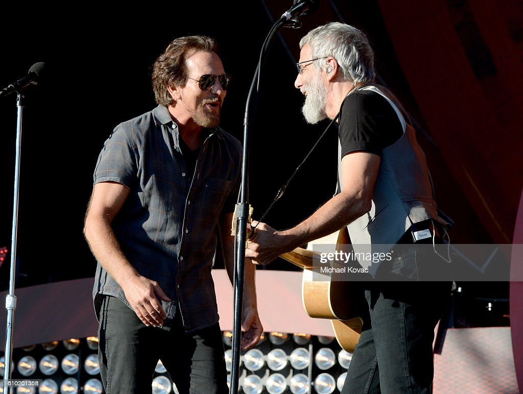 Eddie Vedder (L) and Yusuf Islam perform onstage at the 2016 Global Citizen Festival to End Extreme Poverty by 2030 at Central Park on September 24, 2016 in New York City.