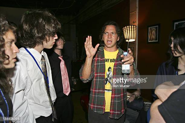 Eddie Vedder Bryan Purcell and CJ Tywomiak during 'Rock School' After Party in Seattle May 25 2005 at Seattle Neumo's in Seattle Washington United...