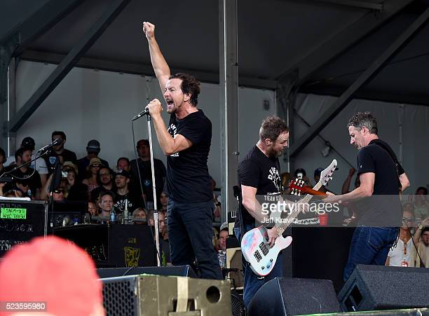 Eddie Vedder Jeff Ament and Stone Gossard of Pearl Jam perform onstage at the 2016 New Orleans Jazz Heritage Festival at Fair Grounds Race Course on...