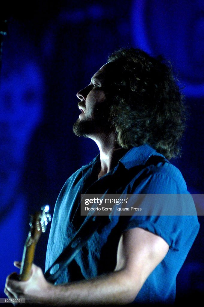 Eddie Vedder lead the Pearl Jam at Heineken Jammin' Festival on July 6, 2010 in Mestre, Italy.