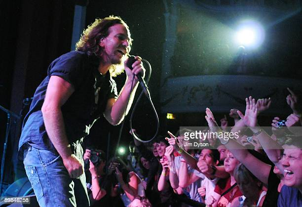 Eddie Vedder of American rock group Pearl Jam performs at Shepherd's Bush Empire on August 11 2009 in London England