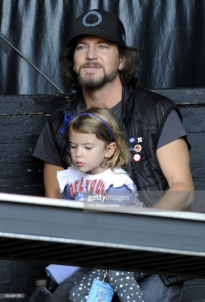 Eddie Vedder of Pearl Jam and daughter Harper Vedder attend the 26th Annual Bridge School Benefit at Shoreline Amphitheatre on October 20, 2012 in Mountain View, California.