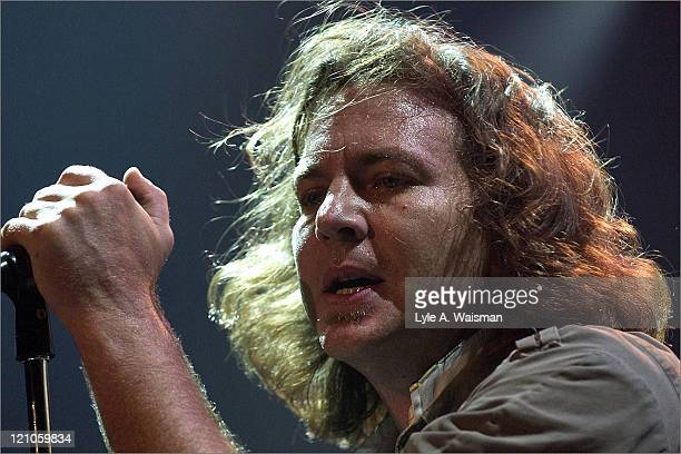 Eddie Vedder of Pearl Jam during Pearl Jam and Robert Plant Hurricane Relief Concert October 5 2005 at House of Blues in Chicago Illnois United States