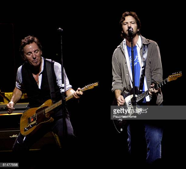 Eddie Vedder of Pearl Jam joins Bruce Springsteen and the E Street Band during the Vote For Change concert at the Continental Airlines Arena October...
