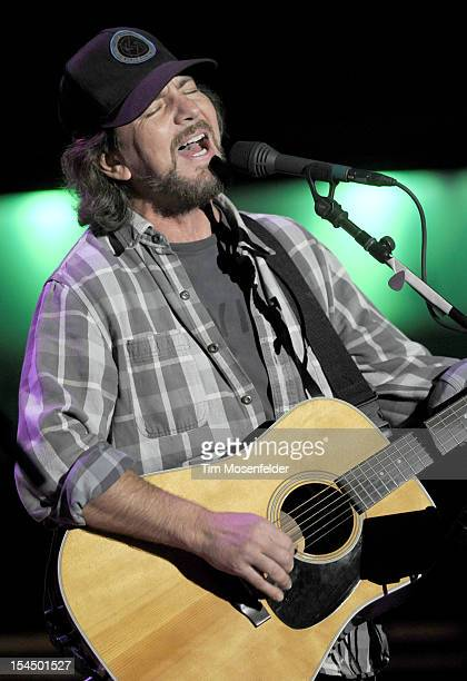 Eddie Vedder of Pearl Jam performs as part of the 26th Annual Bridge School Benefit at Shoreline Amphitheatre on October 20 2012 in Mountain View...