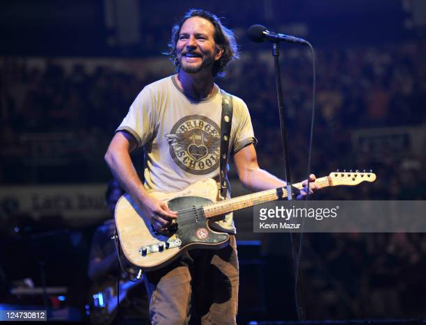Eddie Vedder of Pearl Jam performs at Air Canada Centre on September 11 2011 in Toronto Canada