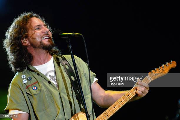 Eddie Vedder of Pearl Jam performs at the 2008 Bonnaroo Music and Arts Festival on June 14 2008 in Manchester Tennessee