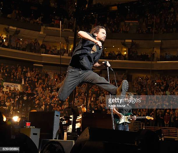 Eddie Vedder of Pearl Jam performs at Wells Fargo Center on April 29 2016 in Philadelphia Pennsylvania