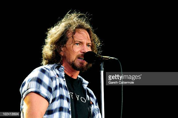 Eddie Vedder of Pearl Jam performs during day 1 of the Hard Rock Calling festival held in Hyde Park on June 25 2010 in London England