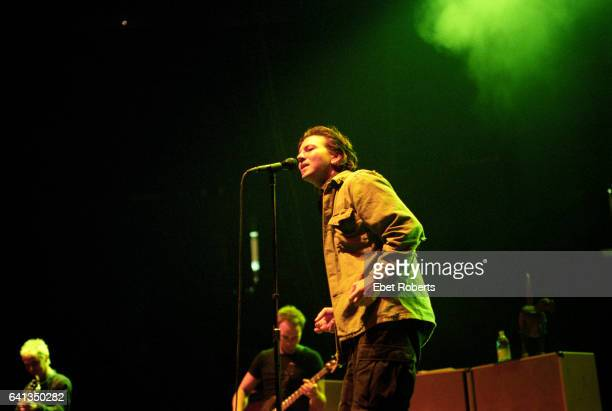Eddie Vedder of Pearl Jam performs during the Yield Tour at the Continental Airlines Arena in East Rutherford New Jersey on September 8 1998