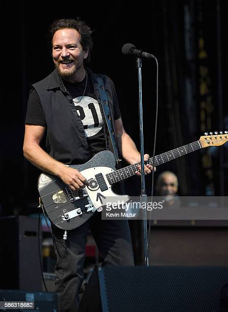 Eddie Vedder of Pearl Jam performs on stage at Fenway Park on August 5 2016 in Boston Massachusetts