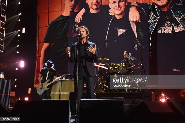 Eddie Vedder of Pearl Jam performs onstage during the 32nd Annual Rock Roll Hall Of Fame Induction Ceremony at Barclays Center on April 7 2017 in New...