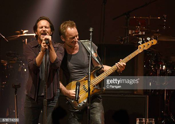 Eddie Vedder of Pearl Jam performs onstage with Sting during the 'Rock Paper Scissors' North American Tour at Key Arena on July 21 2016 in Seattle...