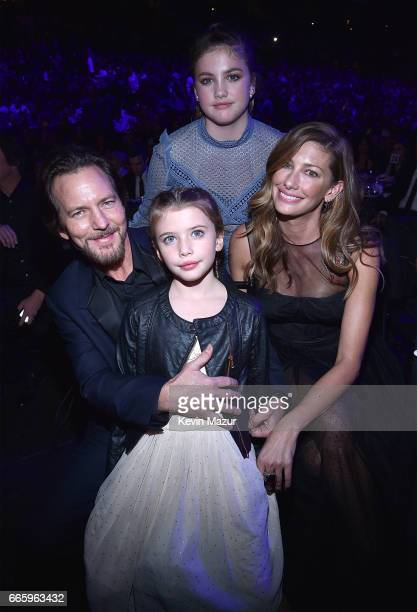 Eddie Vedder Olivia Vedder Harper Vedder and Jill Vedder attend 32nd Annual Rock Roll Hall Of Fame Induction Ceremony at Barclays Center on April 7...
