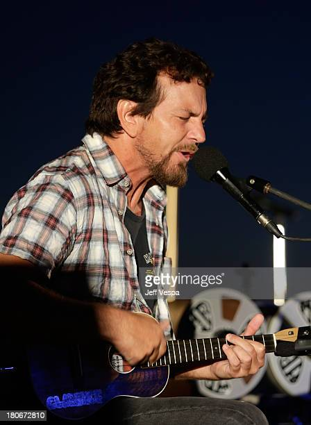 Eddie Vedder peforms onstage at Eddie Vedder and Zach Galifianakis Rock Malibu Fundraiser for EBMRF and Heal EB on September 15 2013 in Malibu...