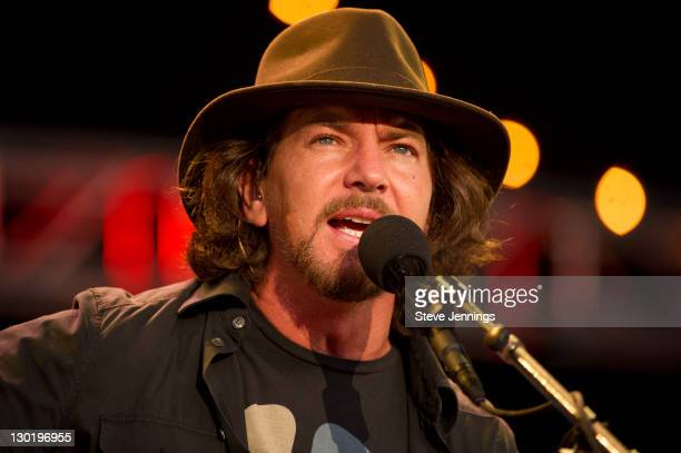 Eddie Vedder performs at the 25th Annual Bridge School Benefit Concert at Shoreline Amphitheatre on October 23 2011 in Mountain View California