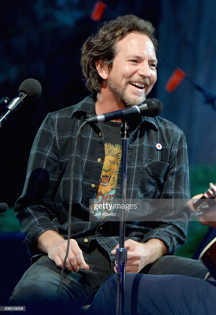 Eddie Vedder performs onstage at WHO Cares About The Next Generation at a private residence on May 31, 2016 in Pacific Palisades City.