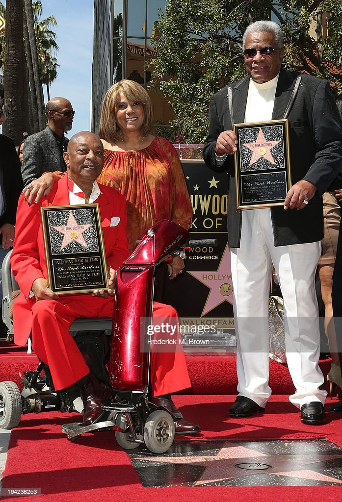 Eddie Willis (L) and Jack Ashford (R) are joined by Claudette Robinson (C) during the ceremony honoring The Funk Brothers on The Hollywood Walk Of Fame on March 21, 2013 in Hollywood, California.