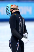 Eddy Alvarez of the United States reacts after competing in the Short Track Men's 1500m Semifinal on day 3 of the Sochi 2014 Winter Olympics at...