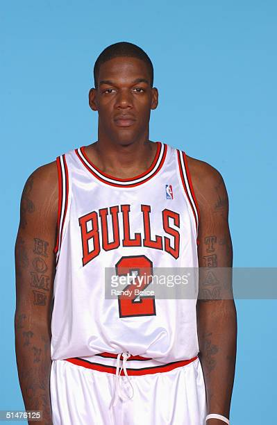 Eddy Curry of the Chicago Bulls poses for a portrait during NBA Media Day on October 23 2004 in Chicago Illinois NOTE TO USER User expressly...