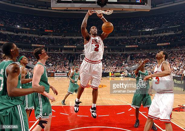 Eddy Curry of the Chicago Bulls slams the ball against the Boston Celtics on January 29 2005 at the United Center in Chicago Illinois The Celtics...