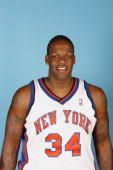 Eddy Curry of the New York Knicks poses during NBA Media Day at the MSG Training Facility on October 2 2006 in Tarrytown New York NOTE TO USER User...