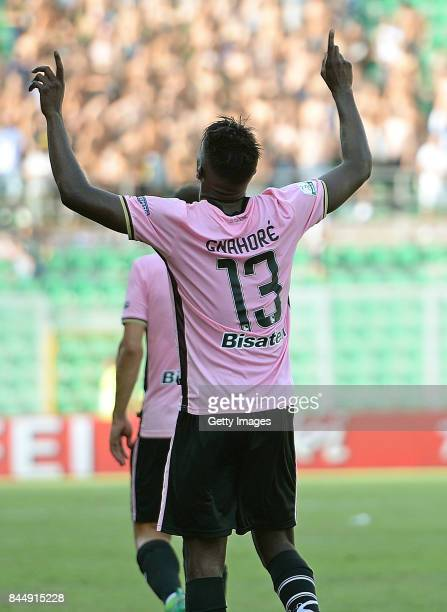 Eddy Gnahore of Palermo celebrates after scoring his team's third goal during the Serie B match between US Citta di Palermo and Empoli FC at Stadio...