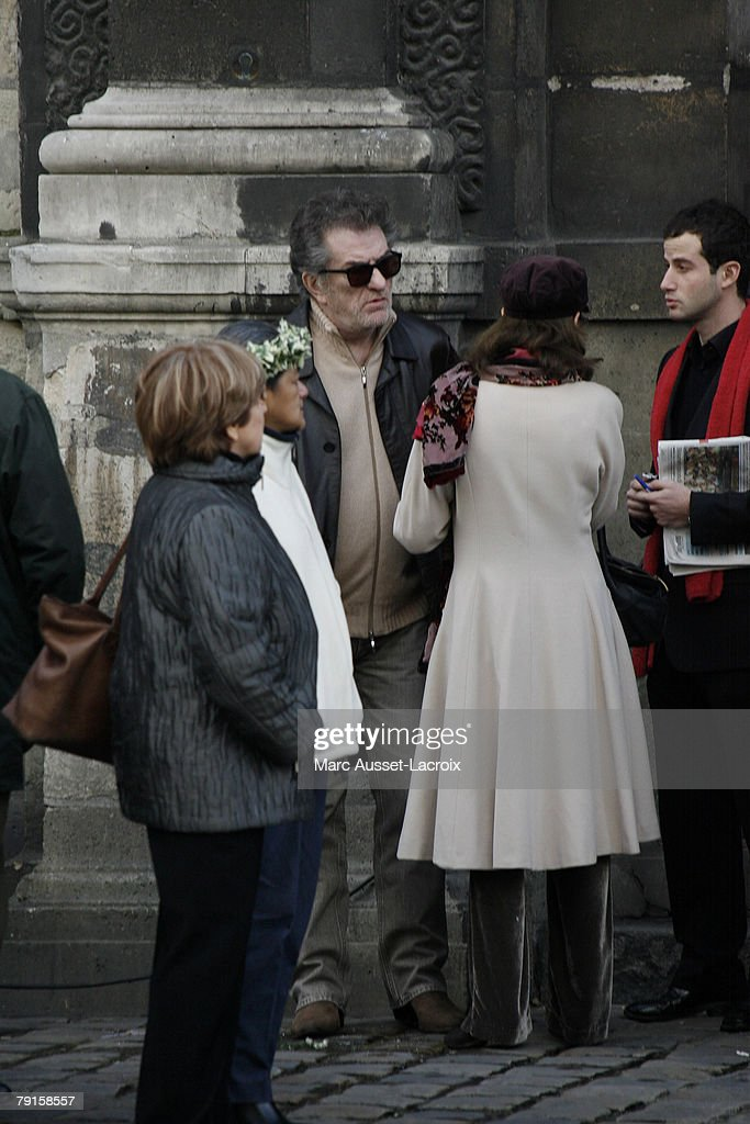 Eddy Mitchell arrives at St Germain church to attend the funeral mass of singer Carlos on January 22, 2008 in Paris, France.