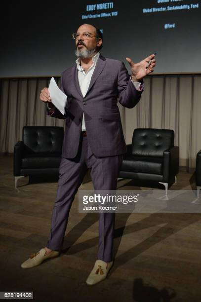 Eddy Moretti Chief Creative Officer at Vice speaks on stage during FordVICE Impact's 'The Third Industrial Revolution' Miami Premiere Presented By...