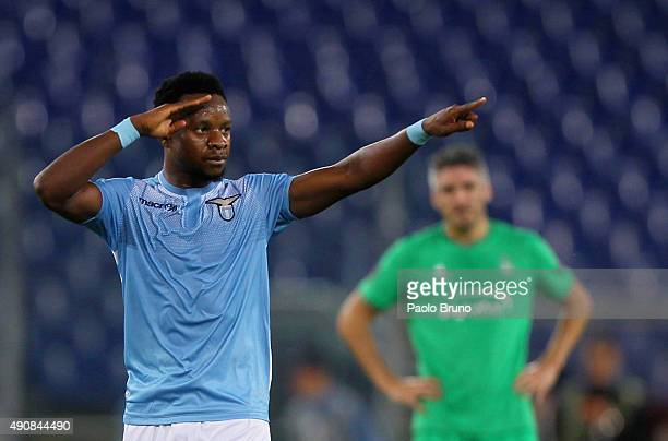 Eddy Onazi of SS Lazio celebrates after scoring the team's first goal during the UEFA Europa League group G match between SS Lazio and AS...