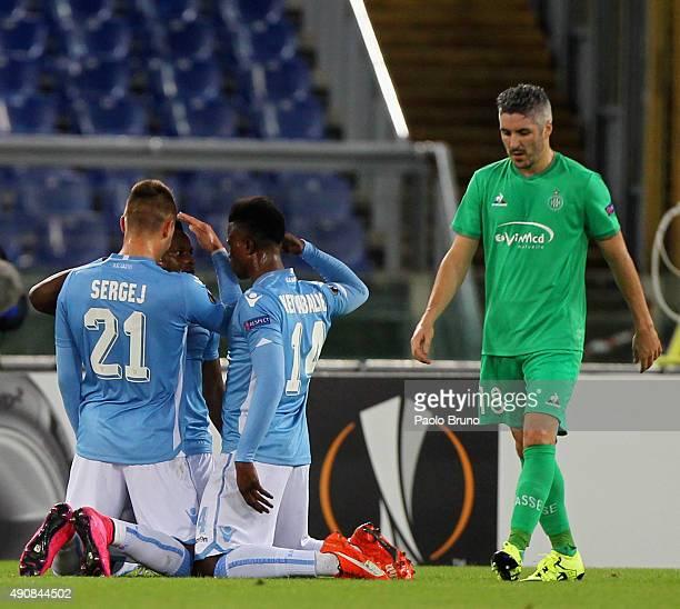 Eddy Onazi with his teammate Sergej MilinkovicSavic and Keita Balde of SS Lazio celebrates after scoring the team's first goal during the UEFA Europa...