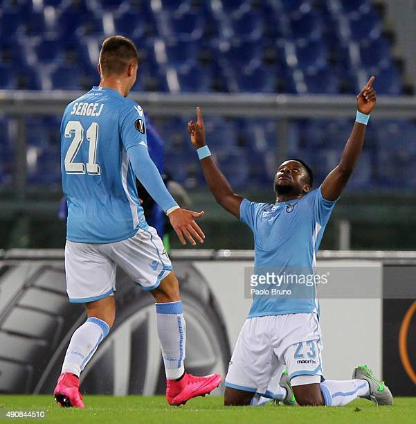 Eddy Onazi with his teammate Sergej MilinkovicSavic of SS Lazio celebrates after scoring the team's first goal during the UEFA Europa League group G...