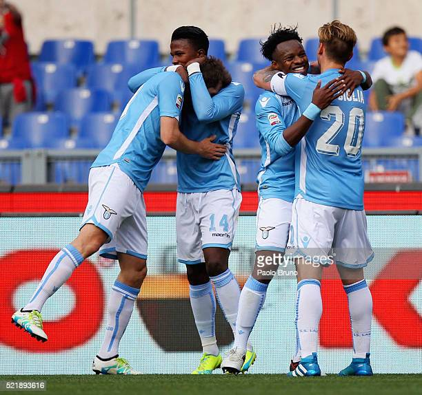 Eddy Onazi with his teammates of SS Lazio celebrates after scoring the team's second goal during the Serie A match between SS Lazio and Empoli FC at...