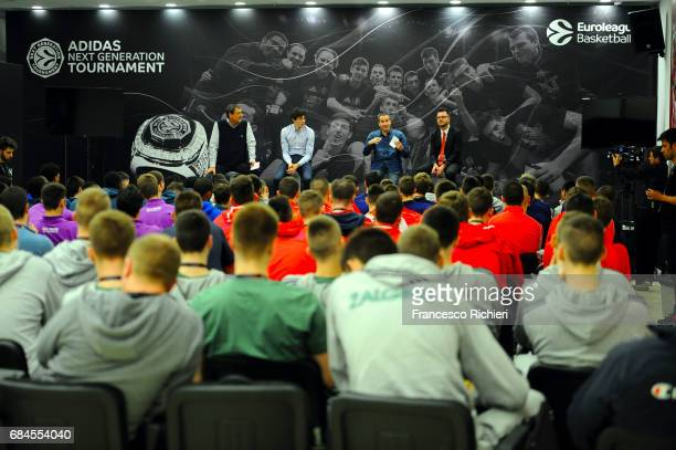 Eddy Vidal Cedi Osman David Blatt and Alex Ferrer Kristjansson during the 2017 Euroleague Basketball ANGT Players Educational Session at Sinan Erdem...