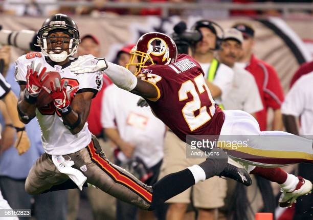 Edell Shepherd of the Tampa Bay Buccaneers catches a 30yard touchdown pass in the final minute of the game against Walt Harris of the Washington...