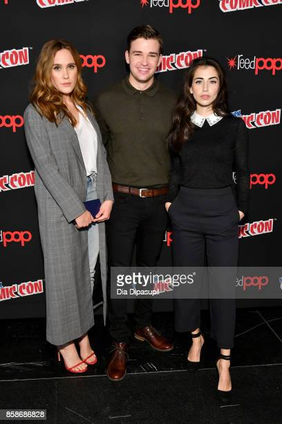 Eden Brolin Burkely Duffield and Dilan Gwyn pose at the Freeform 'Shadow Hunters' and 'Beyond' Photo Call during 2017 New York Comic Con Day 3 on...