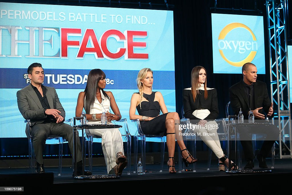 Eden Gaha, Executive Producer, Naomi Campbell, Supermodel Coach and Executive Producer, Karolina Kurkova, Supermodel Coach, Coco Rocha, Supermodel Coach, and host Nigel Barker speak onstage at the 'The Face' panel discussion during the Oxygen portion of the 2013 Winter TCA Tour- Day 4 at the Langham Hotel on January 7, 2013 in Pasadena, California.