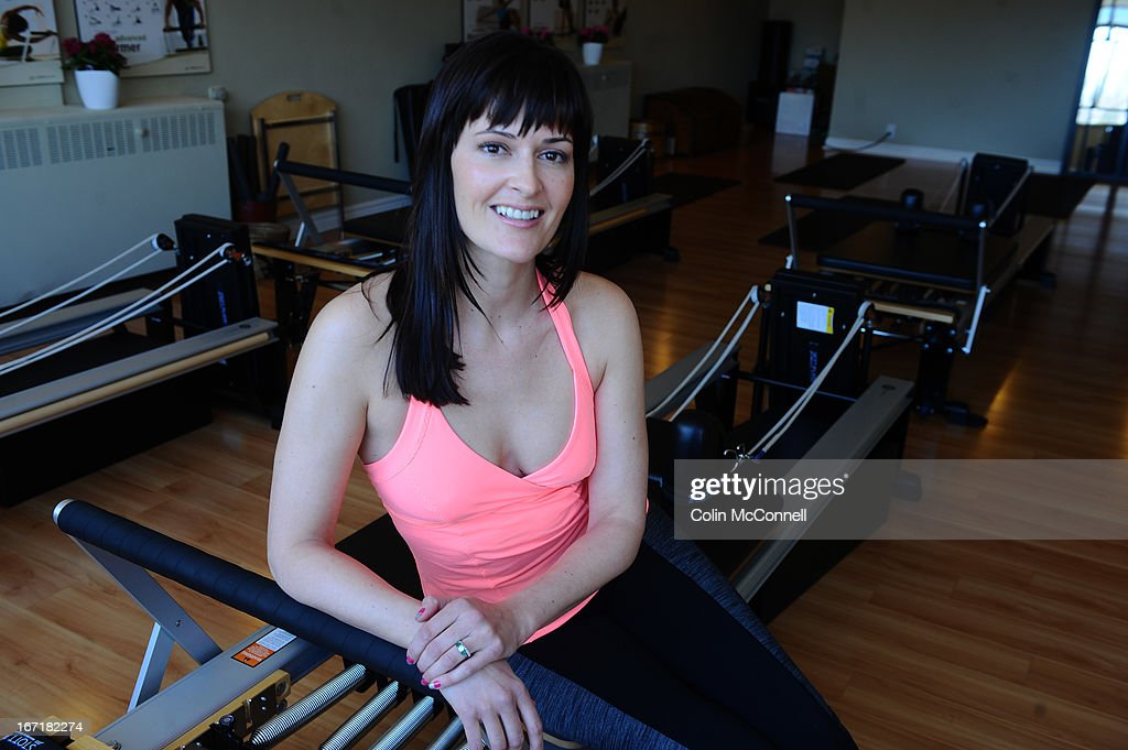 Eden Haugland of Eden Pilates on Yonge Street taken on April 21st 2013. In her fitness class in posture academy teaches people how to look taller in 4 weeks. Shots of her instructing her class.