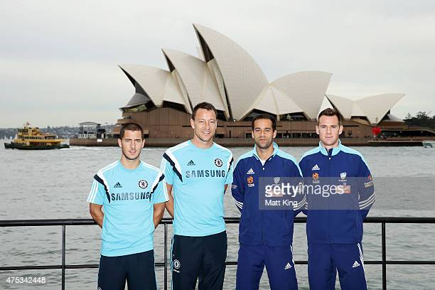 Eden Hazard and captain John Terry of Chelsea FC next to captain Alex Brosque and Shane Smeltz of Sydney FC pose during a photo opportunity after a...