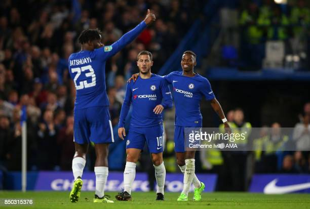 Eden Hazard and Charly Musonda of Chelsea celebrate with Michy Batshuayi of Chelsea during the Carabao Cup Third Round match between Chelsea and...