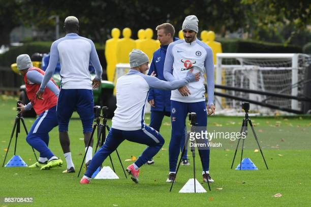 Eden Hazard and Davide Zappacosta of Chelsea during a training session at Chelsea Training Ground on October 20 2017 in Cobham United Kingdom