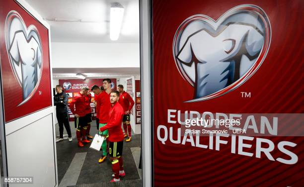 Eden Hazard and goalkeeper Thibaut Courtois of Belgium look on prior FIFA 2018 World Cup Qualifier between Bosnia and Herzegovina and Belgium at...