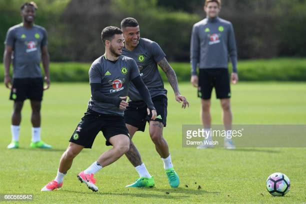 Eden Hazard and Kenedy of Chelsea during a training session at Chelsea Training Ground on March 30 2017 in Cobham England