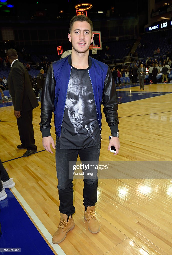 Eden Hazard attends the Orlando Magic vs Toronto Raptors NBA Global Game at The O2 Arena on January 14, 2016 in London, England.