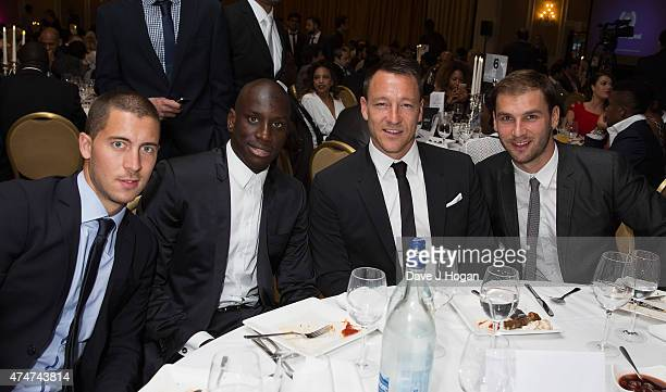 Eden Hazard Demba Ba John Terry and Branoslav Ivanovich at dinner at The Human Appeal Celebrity Football Gala DinnerLondon Marriott Hotel on May 25...