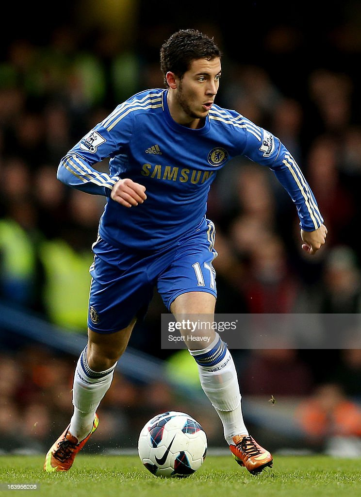 Eden Hazard fo Chelsea in action during the Barclays Premier League match between Chelsea and West Ham United at Stamford Bridge on March 17, 2013 in London, England.