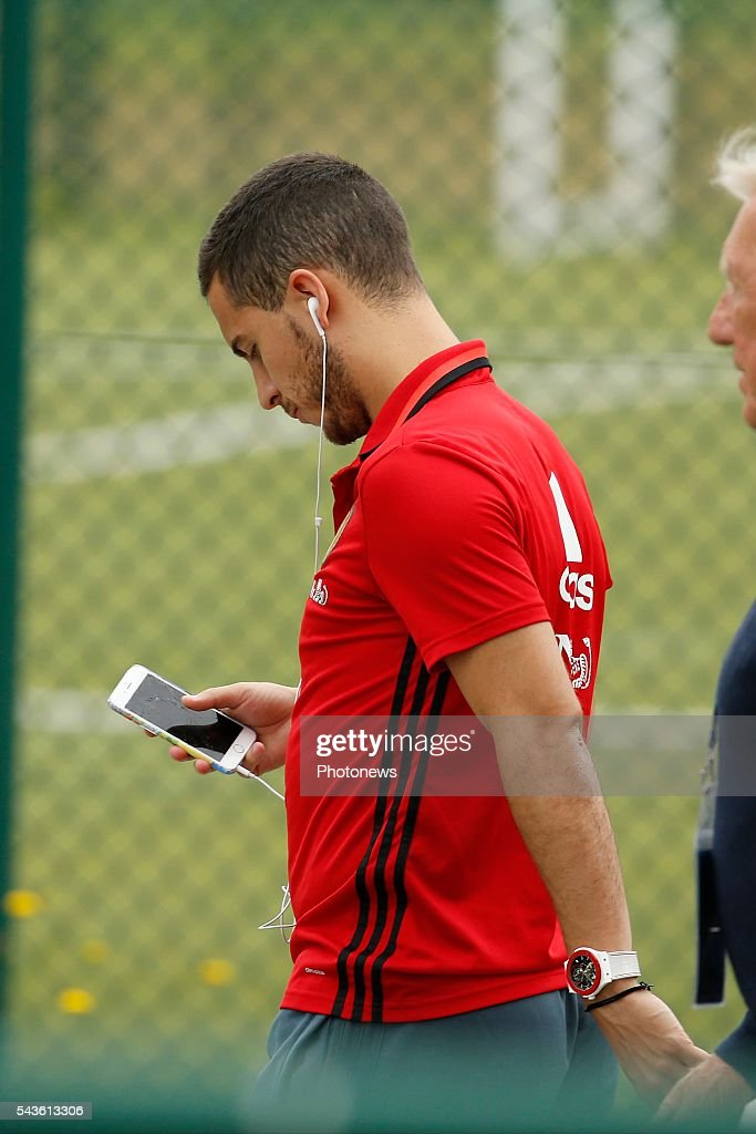 Eden Hazard midfielder of Belgium before a closed training session of the National Soccer Team of Belgium as part of the preparation prior to the UEFA EURO 2016 quarter final match between Wales and Belgium at the Chateau de Haillan training center on June 29, 2016 in Bordeaux, France ,