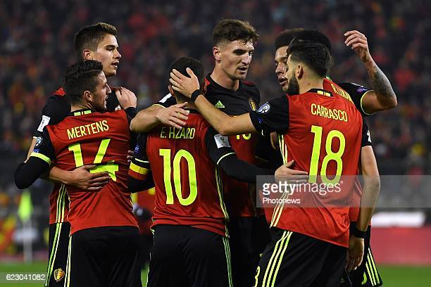 Eden Hazard midfielder of Belgium celebrates scoring a goal with teammates during the World Cup Qualifier Group H match between Belgium and Estonia...