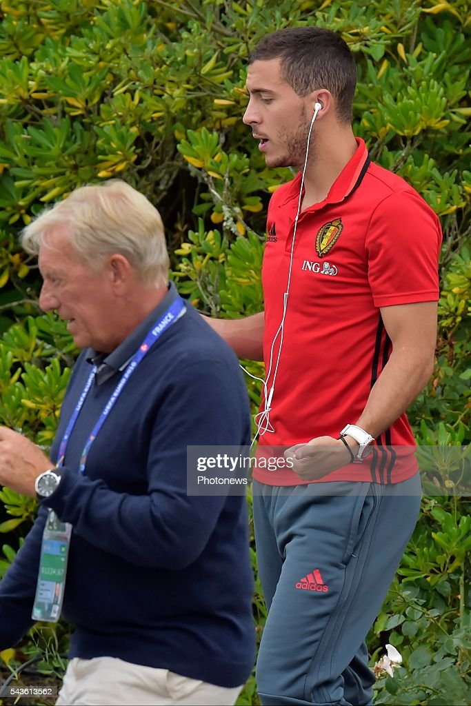 Eden Hazard midfielder of Belgium pictured before a closed training session of the National Soccer Team of Belgium as part of the preparation prior to the UEFA EURO 2016 quarter final match between Wales and Belgium at the Chateau de Haillan training center on June 29, 2016 in Bordeaux, France ,